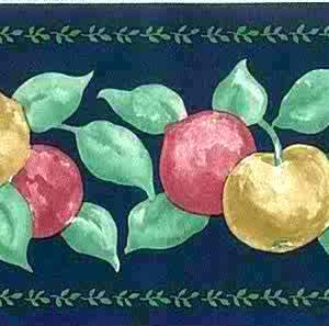 Vintage Fruit Kitchen Wallpaper Border Blue Green MT57102F Free Ship