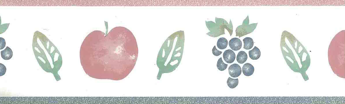 apples grapes vintage wallpaper, pink, blue, green, kitchen, leaves, off-white