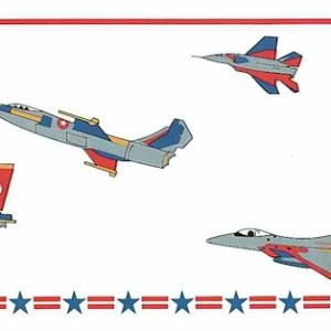 Fighter Jets Vintage Wallpaper Border Silver Red Blue CK3391B FREE Ship