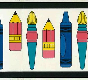 Kids Crayons Vintage Wallpaper Border Blue Pink TTCS2321B FREE Ship