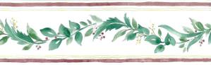 berries vintage wallpaper border, green, leaves, red, cream, kitchen, cottage, vintage, yellow