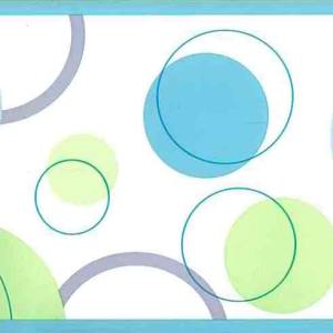 Circles Wallpaper Border Blue Green Modern SK5201B FREE Ship