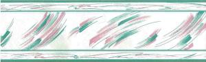 vintage brushstrokes wallpaper border, kitchen, pink, teal, off-white, glazed, contemporary, modern