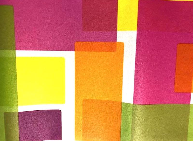 modern geometric wallpaper border, orange, yellow, green, white, contemporary, kitchen, children's playroom