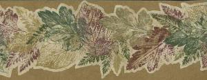 Fall leaf wallpaper border, beige, red, green, cottage style, cutout, leaves, oak, elm, dining room, study