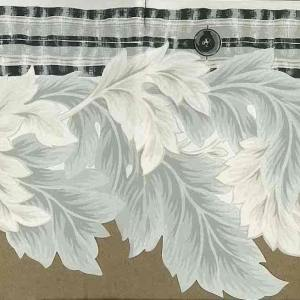 Gray Leaves Cutout Wallpaper Border Black Off-White 140927 FREE Ship