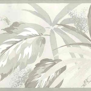 Palm Leaves Vintage Border Gray Taupe Pampano 753-B611 Free Ship