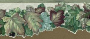 leaf cutout wallpaper border, leaves, leaf, maple leaf, oak leaf, maroon, green, gray, study, bedroom
