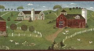 country kitchen vintage border, green, red, barns, Americana, oountry, white, picket fence, chickens