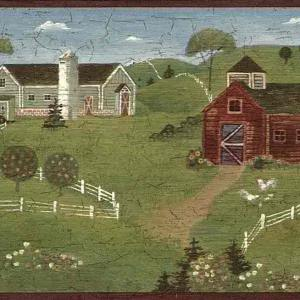 Country Kitchen Vintage Border Barns 7064-729B FREE Ship