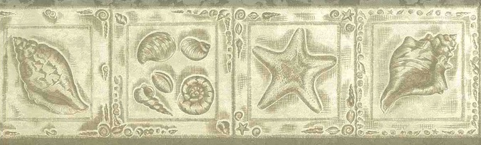 platinum nautical vintage wallpaper border,cream,textured,glazed,seashells,shells