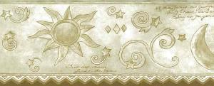 moon sun stars wallpaper border, beige, cream, cutout, ric-rack, children's, kids, nursery, bedroom