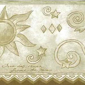 Moon Sun Stars Wallpaper Border Beige Script COV3611 FREE Ship