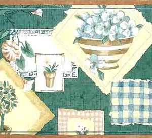 Vintage Green Sampler Border Floral Kitchen Topiary 190201B FREE Ship