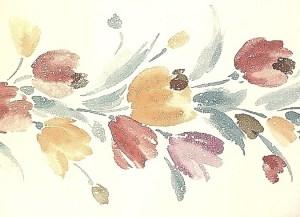 Cream Tulip Vintage Wallpaper Border in Pumpkin, Red, Purple & Teal