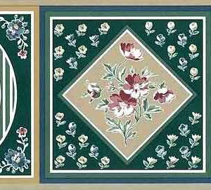 Green Sampler Vintage Wallpaper Border Floral JM5004B FREE Ship