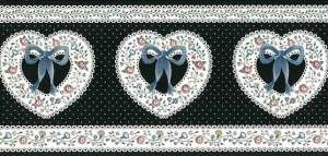 Hearts Vintage Wallpaper Border with Black & White Polka Dots & Ribbon