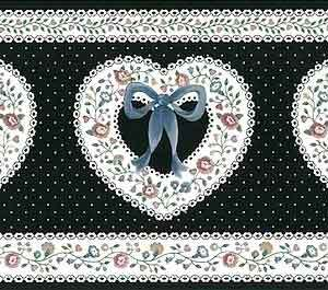 Hearts Vintage Wallpaper Border Black White Dots UK CTB22219 FREE Ship