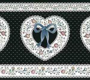 Hearts Vintage Wallpaper Border Black White Dots UK CTB22219 FREE Ship