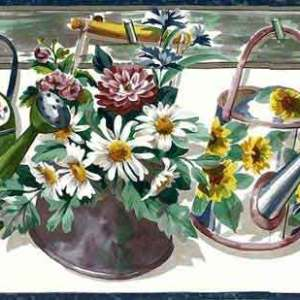 Vintage Watering Cans Wallpaper Border Kitchen Floral 864216 FREE Ship
