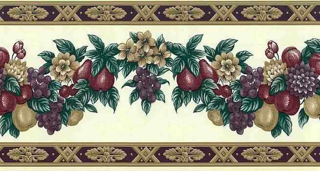 Floral Wallpaper Border with Fruit Swag Garland