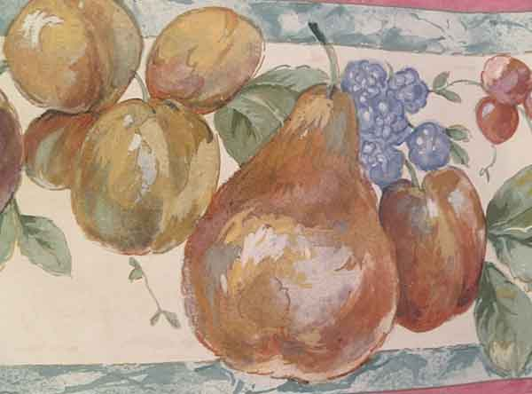 Cream Fruit vintage Wallpaper Border, Green Faux Marble, pears, plums, cherries, yellow, red