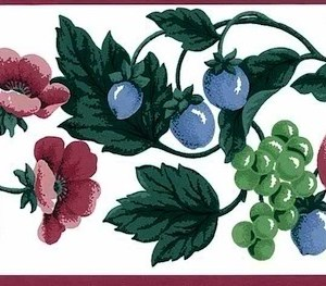 Waverly Fruit Wallpaper Border Floral Kitchen 567254 FREE Ship