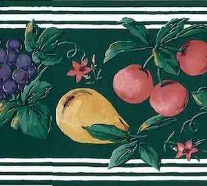 Green Fruit Medley Wallpaper Border Vintage Kitchen HBB78 FREE Ship