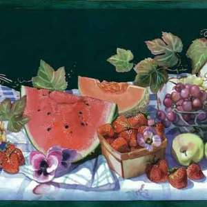 Vintage Green Picnic Wallpaper Border Fruit Kitchen 0135-5 FREE Ship