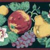 Vintage Fruit Floral Wallpaper Border in Green, Red, Yellow, Purple, & Cream