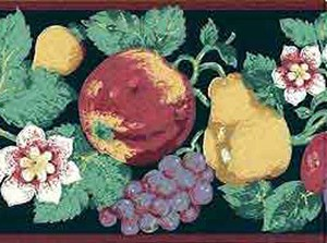 Vintage Fruit Floral Wallpaper Border Kitchen Daffodils 17829 FREE Ship