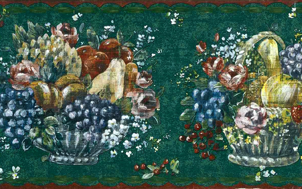 Fruit Baskets Wallpaper Border on dark green background