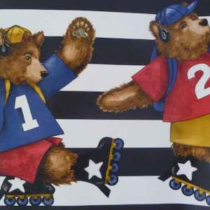 Skating Bears Vintage Wallpaper Border Childrens 591506 FREE Ship
