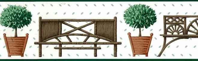 Waverly Bench and Topiary Wallpaper Border in White & Green