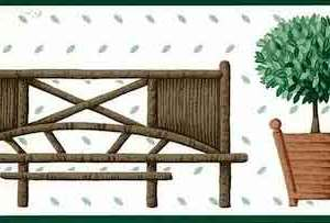 Waverly Bench Topiary Vintage Wallpaper Border Kitchen 569760 FREE Ship