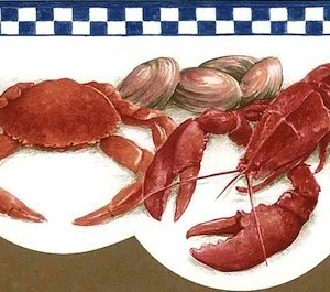 Lobster Vintage Wallpaper Border Kitchen Red BH89024DB FREE Ship