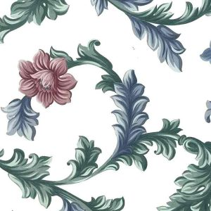 floral scroll vintage wallpaper, blue, rose, flowers, off-white, textured, traditional, vines