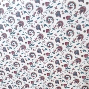 floral paisley vintage wallpaper, purple, cream, green, stylized flowers, bedroom, traditional