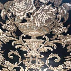 Black Gold Damask Wallpaper Floral Taupe PR9037 Double Rolls