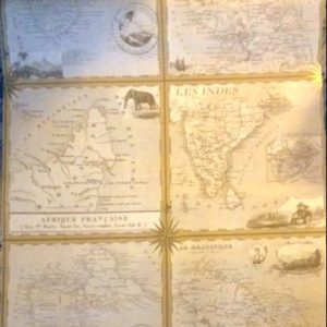 Map Wallpaper French English Colonies Van Luit Brown BT154651 D/Rs
