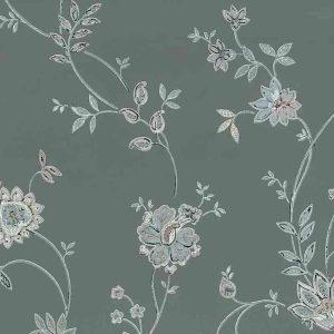 gray floral vintage wallpaper, pink, blue, art nouveau, jacobean, flowers, paisley