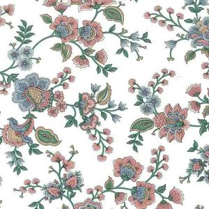 pink floral vintage wallpaper, blue, green, leaves, cottage, diing room, bedroom