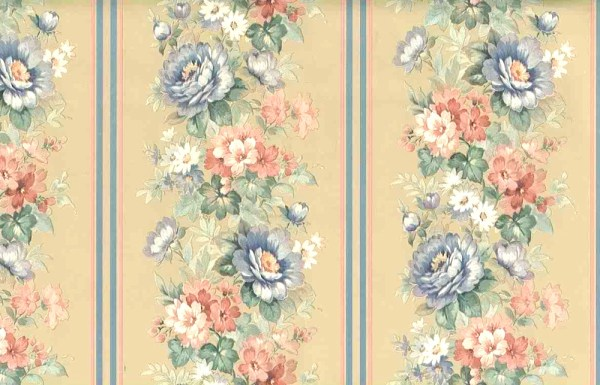 Floral Stripe Vintage Wallpaper Pink Blue Beige Pearlized ...