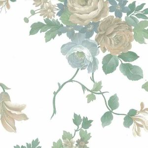 Waverly Pearlized Floral Vintage Wallpaper Beige Green 578002 D/Rs