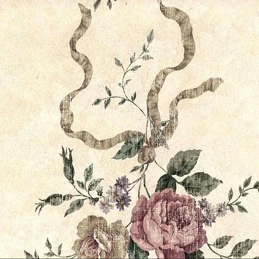 shabby chic vintage floral wallpaper, beige, pink, rose, ribbons, roses