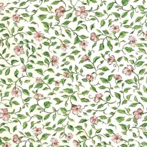 cottage floral vintage wallpaper, English style, green, pink, off-white, vintage style, cottage, vines, leaves, flowers, bedroom, breakfast room