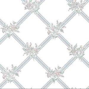 lavendar lattice vintage wallpaper, floral, green, bedroom, cottage