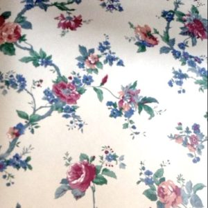 Floral Cottage Vintage Wallpaper Cream Red Blue 591721 D/Rs