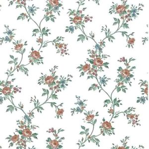 Cottage Vintage Wallpaper Vining Roses Blue Floral 275147 D/Rs