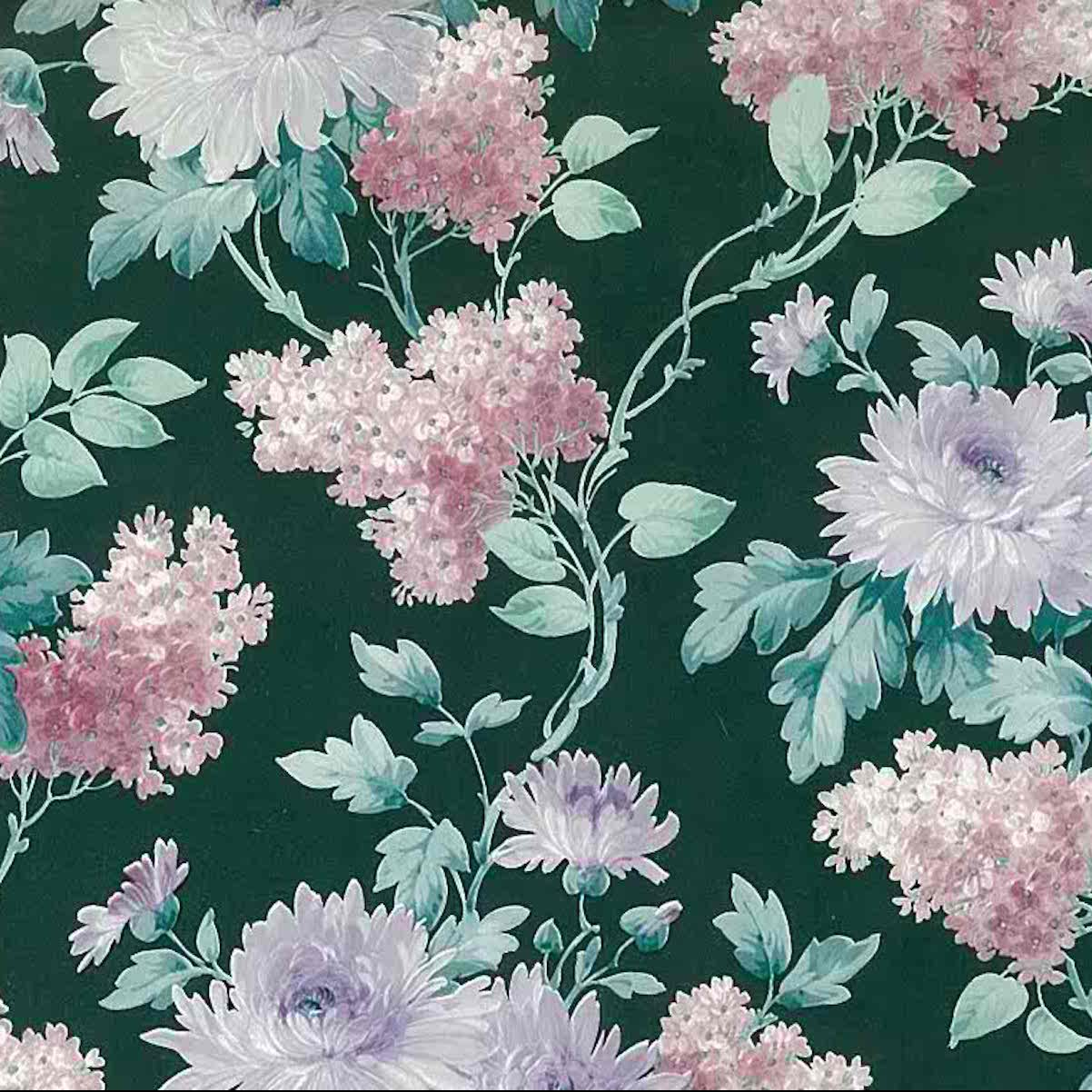 Green Floral Vintage Wallpaper Pink White Purple Lilacs Ws5610 D Rs
